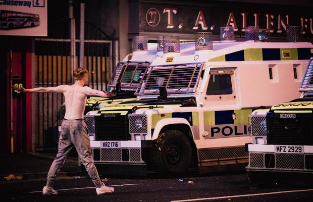Rioting erupts in the Sandyrow area of south Belfast on April 2, 2021 (Photo by Kevin Scott for Belfast Telegraph)