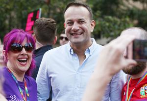 Press Eye - Belfast - Northern Ireland  - 5th August 2017   Thousands of people take part in the annual Belfast Pride event in Belfast city centre celebrating Northern Ireland's LGBT community.  Taoiseach Leo Varadkar pictured at the beginning of the parade.   Photo by Jonathan Porter  / Press Eye.