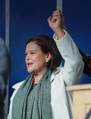 Mary Lou McDonald as A march commemorating the 50th anniversary of the historic civil rights rally in Londonderry leaves Duke Street for Shipquay street on October 6th 2018 (Photo by Kevin Scott / Belfast Telegraph)