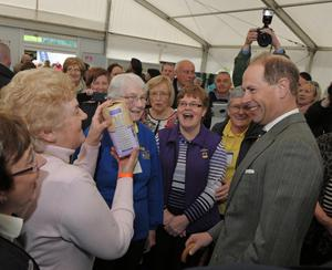 Earl of Wessex at Balmoral Show Day 1 at the new Balmoral Park site on the former Maze prison site. HRH Prince Edward is pictured during a tour of the show where he meet members of the womans institute. Photo by Simon Graham/Harrison Photography.
