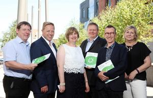 3 July 18, Mandatory Credit ©Press Eye/Darren Kidd    Launch of Anti-Poverty Practice Framework at the Skainos Centre Belfast.   Pictured at todayÕs launch of the Anti-Poverty Practice Framework are: Gerryu Largey, Belfast HSCT, Andrew Irvine, CEO, East Belfast Mission, Aine Morrison, DoH, NI Chief Social Worker Sean Holland, Prof Paul Bywaters, Professor of Social Work, University of Huddersfield and Jackie McIlroy, NI Deputy Chief Social Worker.