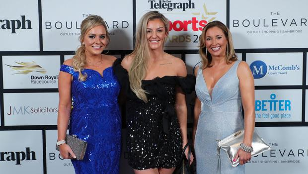 Press Eye - Belfast - Northern Ireland - 20th January  2020   Ruth Gorman, Leah McCourt and Claire McCollum pictured at the 2019 Belfast Telegraph Sport Awards at the Crowne Plaza Hotel in Belfast.  Photo by Kelvin Boyes / Press Eye.