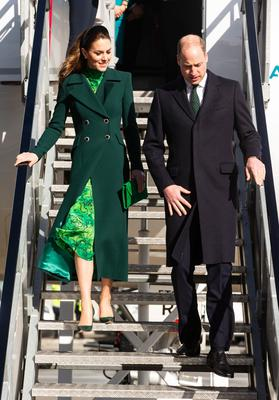 The Duke and Duchess of Cambridge walk down the steps of the plane as they arrive at Dublin International Airport ahead of their three day visit to the Republic of Ireland. PA Photo. Picture date: Tuesday March 3, 2020. See PA story ROYAL Cambridge. Photo credit should read: Ian Vogler/Daily Mirror/PA Wire