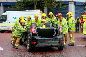Pictured is emergency services at the scene of a second crash on York St. Photo: Kevin Scott / Belfast Telegraph