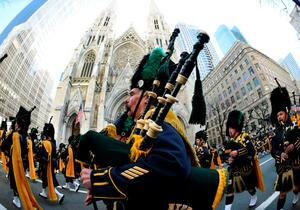 The NYPD Emerald Society Marching band is seen on 5th Avenue during the 255th New York City St Patrick's Day Parade on March 17, 2016. / AFP PHOTO / Timothy A. CLARYTIMOTHY A. CLARY/AFP/Getty Images