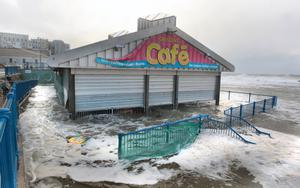 Weather bomb floods the promenade cafe in Portstewart. Pic Margaret McLaughlin