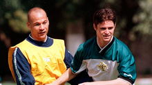 Way they were: George O'Boyle (left) and Philip Mulryne at a training session in Turkey in 1998