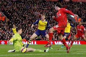 Liverpool's Lazar Markovic (right) is denied by Arsenal goalkeeper Wojciech Szczesny (left) during the Barclays Premier League match at Anfield, Liverpool. Peter Byrne/PA Wire.
