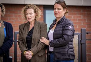 Noah Donohoe's mum Fiona and aunt Niamh during a press conferences as searches continue in north Belfast on June 24th 2020 (Photo by Kevin Scott for Belfast Telegraph)