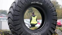 """Press Eye - Belfast - Northern Ireland - 3rd November 2015  General views of the Michelin Tyre factory in Ballymena, Co. Antrim, where workers have been called to a meeting.  The company has been producing tyres in the town since 1969 employing over 1,000 people.   Picture by Jonathan Porter/PressEyePress Eye - Northern Ireland - 3rd November 2015  Photographer: Stephen Hamilton   General views Michelin factory in Ballymena,   Michelin, Ballymena,  Bad news expected ahead of staff meeting today. The company has not said what the meeting is for, but political sources have told the BBC """"bad news"""" is expected. The factory, which has been operating in the town since 1969, employs about 1,000 people"""