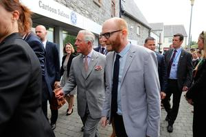 The Prince of Wales as he arrives to visit the Cartoon Saloon in Kilkenny. PRESS ASSOCIATION Photo. Picture date: Thursday May 11, 2017. The Prince of Wales and the Duchess of Cornwall are on a three day visit to Ireland. See PA story ROYAL Ireland. Photo credit should read: Lorraine Sullivan/PA Wire