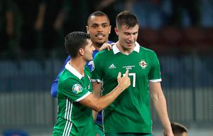 Borisov boys: Northern Ireland's Jordan Jones and Paddy McNair after defeating Belarus on Tuesday night