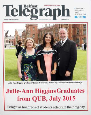 Mandatory Credit - Picture by Freddie Parkinson/Press Eye ? Wednesday 8th July 2015 Graduations Queen University Belfast. Saerlaith Forbes from Strabane graduated at Queens University Belfast in Social Work.