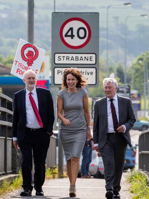 Labour leader Jeremy Corbyn with Professor Deirdre Heenan (centre) and Shadow Secretary of State for Northern Ireland Tony Lloyd (right) during a visit to Lifford Bridge on the Irish border, during the second day of a two-day trip to learn more about how Brexit affects the country. PRESS ASSOCIATION Photo. Picture date: Friday May 25, 2018. See PA story ULSTER Corbyn. Photo credit should read: Liam McBurney/PA Wire