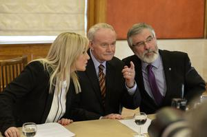 Sinn Féin MLA Michelle ONeill pictured at Stormont as she is announced as the new leader of the party in the north. Michelle pictured with Martin McGuinness, and Gerry Adams Photograph by Presseye/Cameron Hamilton