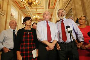 10th September  2015  Sinn Fein's Martin McGuinness and Gerry Adams speak to the press in the Great Hall at Parliament Buildings in Stormont after the Executive Committee meeting to decide the way forward for the Northern Ireland Assembly.   Picture by Jonathan Porter/PressEye
