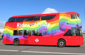 TfL's Ride With Pride bus is a Routemaster bus designed and built by Wright Bus in Northern Ireland. Image: TfL