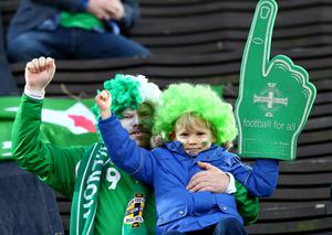 Press Eye - Belfast -  Northern Ireland - 11th October 2015 - Photo by William Cherry  Northern Ireland fans before Sundays UEFA Euro 2016 Qualifier against Finland at at the Helsingin Olympiastadion in Helsinki.