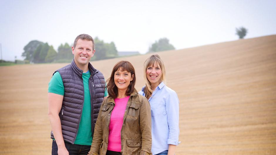 Jo Scott (centre) with fellow Home Ground presenter Gavin Andrews and series reporter, Ruth Sanderson