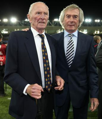 Press Eye - Belfast - Northern Ireland - 8th October 2016 -Picture by Brian Little/PressEye  Goal keeping Legends Harry Gregg and Pat Jennings attending The National Football Stadium at Windsor Park Opening Game and Ceremony before Northern Ireland vs San Marino 2018 FIFA World Cup Qualifier Photo by Brian Little/ Press Eye