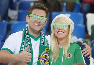 Press Eye Belfast - Northern Ireland 8th October  FIFA 2018 World Cup Qualifier - Northern Ireland Vs San Marino at The National Football Stadium at Windsor Park in Belfast  Northern Ireland's fans.   Picture by Jonathan Porter/Press Eye