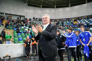 Press Eye - Belfast - Northern Ireland - 8th October 2016 -   The National Football Stadium at Windsor Park Opening Game and Ceremony  Northern Ireland vs San Marino 2018 FIFA World Cup Qualifier  Eamonn Holmes pictured at the official opening ceremony.  Photo by Kelvin Boyes / Press Eye