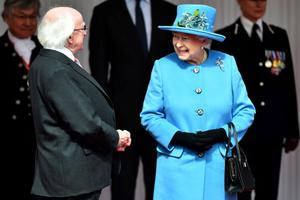 The President of Ireland Michael D. Higgins (left) with Queen Elizabeth II at Windsor Castle in Berkshire during the president's state visit