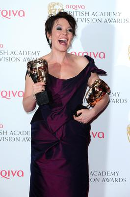 Olivia Coleman with the Best Female in a Comedy Award for Twenty Twelve, at the 2013 Arqiva British Academy Television Awards at the Royal Festival Hall, London. PRESS ASSOCIATION Photo. Picture date: Sunday May 12, 2013. See PA story SHOWBIZ Bafta. Photo credit should read: Ian West/PA Wire