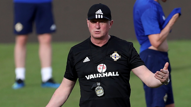 Looking to be impressed: Northern Ireland manager Michael O'Neill takes training in Panama