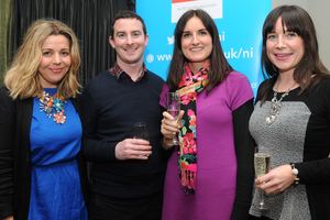Rachel Harriott, Chris Love, Caroline Murphy and Sarah Owens at the Fitzwilliam Hotel in Belfast for the 2013 CIPR Christmas Social