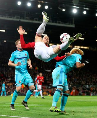 Manchester United's Zlatan Ibrahimovic has a overhead attempt on goal during the UEFA Europa League match at Old Trafford, Manchester. PRESS ASSOCIATION Photo. Picture date: Thursday November 24, 2016. See PA story SOCCER Man Utd. Photo credit should read: Martin Rickett/PA Wire