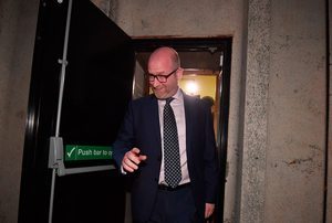 UKIP Leader Paul Nuttall leaves via a fire exit following the vote count for the constituency of Boston and Skegness on June 9, 2017 in Boston, England. (Photo by Anthony Devlin/Getty Images)