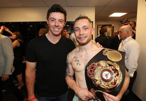 Carl Frampton pictured with Rory McIlroy after defeating Leo Santa Cruz in Saturday nights WBA featherweight title contest against Leo Santa Cruz at the Barclays Centre, Brooklyn, NY.  Press Eye - Belfast -  Northern Ireland - 30th July 2016 - Photo by William Cherry