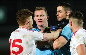 Gripping: Tyrone and Dublin came to blows at Healy Park