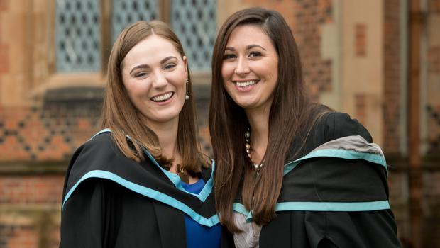 Sarah McCaighy and Janet Maxwell celebrated graduating with a degree in Midwifery, from the School of Nursing and Midwifery at Queen's University Belfast.