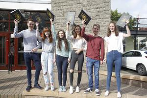 Some of the top achievers at Ballyclare High School in A2, from left, Aaron Coleman, Katie Young, Sophie Patterson, Sian Reed, Christian Montgomery and Charolette Loughhead. Pic by Peter Morrison