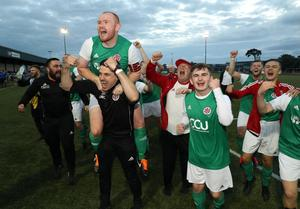 Willowbank celebrate after their 2-0 win over NFC Kesh in the Junior Cup semi-final at Holm Park.