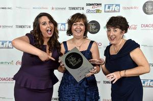 Madison Graham, Iris Houston and Stella Grant pictured at Pubs of Ulster's prestigious Pub of the Year Awards 2014, where Adair Arms won Best Hotel Bar. The Awards night, hosted by Cool FM Breakfast Show Host, Pete Snodden, was attended by the best in the hospitality business and was held at the La Mon Hotel and Country Club on Wednesday 12th November 2014. The annual Pub of the Year Awards are the only industry recognised awards and provide a valuable opportunity to recognise the significant contribution local pubs make, not only within their own communities, but to the industry as a whole. This year's awards were sponsored by Britvic, Coca-Cola, Diageo, Dillon Bass, Heineken Northern Ireland, Molson Coors, Richmond Marketing, Tennent's NI, Drinks Inc. and media partners, Sunday Life, Downtown/Cool FM and Hospitality Review NI.