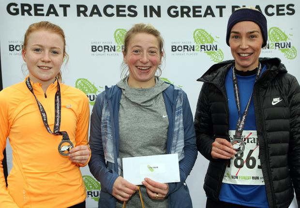 Mandatory Credit - Picture by Freddie Parkinson/Press Eye © Saturday 3rd December 2016 Belfast Telegraph Run Forest Run Loughgall. Loughgall Country Park, 11-14 Main Street, Loughgall, Armagh. Womens 5K winners Rebecca Wallace (Second), Esther Dickson (First) and Karalee Porter (Third).