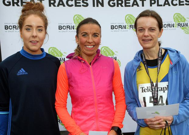 Mandatory Credit - Picture by Freddie Parkinson/Press Eye © Saturday 3rd December 2016 Belfast Telegraph Run Forest Run Loughgall. Loughgall Country Park, 11-14 Main Street, Loughgall, Armagh. Winners of the 10k Amy Laverty (Second), Cathy McCourt (First) and Catherine Roberts (Third)