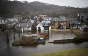 Parts of Callander in Stirlingshire were flooded when the River Teith burst its banks (Jane Barlow/PA)