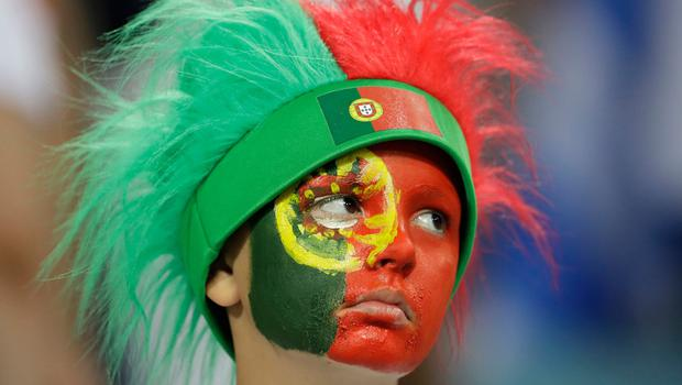 Portugal's fan after the round of 16 match between Uruguay and Portugal at the 2018 soccer World Cup at the Fisht Stadium in Sochi, Russia, Saturday, June 30, 2018. (AP Photo/Themba Hadebe)