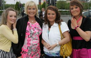 Rachel Campbell, Deidre Campbell, Maura Lyttle and Ellen Validay going to see Girls Aloud in the Odyssey, Belfast. Pic by Ian Magill. 29/4/09.