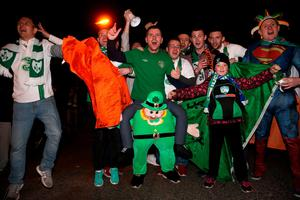 Republic of Ireland supporters outside the stadium before the UEFA Euro 2016 Qualifying Playoff second leg between Republic of Ireland and Bosnia and Herzegovina at the Aviva Stadium, Dublin. PRESS ASSOCIATION Photo. Picture date: Monday November 16, 2015. See PA story SOCCER Republic. Photo credit should read: Brian Lawless/PA Wire.