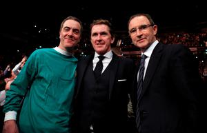 Actor James Nesbitt, former jockey Sir Tony McCoy and Republic of Ireland manager Martin O'Neill watch the action at Manchester Arena.