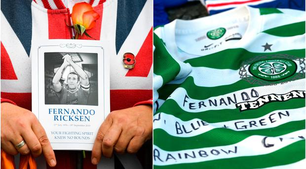 Rangers and Celtic fans left emtional tributes outside Ibrox as the Old Firm fans united to pay their respects to Fernando Ricksen.