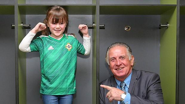 Six-year-old Megan Lewis and Northern Ireland legend Gerry Armstrong launch the new kit at Windsor Park on Tuesday (Jonathan Porter/PressEye)