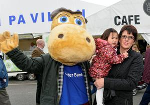 First day of the Balmoral Show in partnership with Ulster Bank at Balmoral Park. Pictured with the Ulster Bank Henri Hippo are Lilly Callaghan from Coleraine .