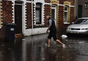 After heavy rain in October, Maryville Avenue, off the Lisburn Road in Belfast, flooded.  Pic Russell Pritchard / Presseye