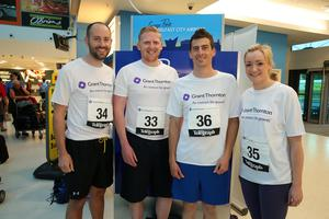 Press Eye - Belfast -  Northern Ireland - 24th June 2015 -  Simon Ballentine, Jason Gibson, John Buller and Christina Stewart from AJ Power at the first ever Grant Thornton Runway Run at Belfast City Airport this evening. Picture by Kelvin Boyes / Press Eye.